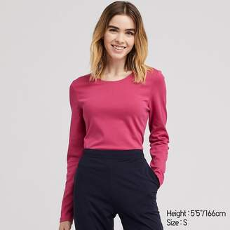 Uniqlo WOMEN Ribbed Cotton Crew Neck Long Sleeve T-shirt