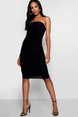 boohoo Tall Katy Ruched Bandeau Dress