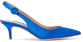 Anna 55 Satin Slingback Pumps - Bright blue