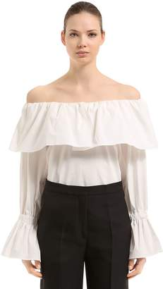 Off The Shoulder Cotton Poplin Blouse