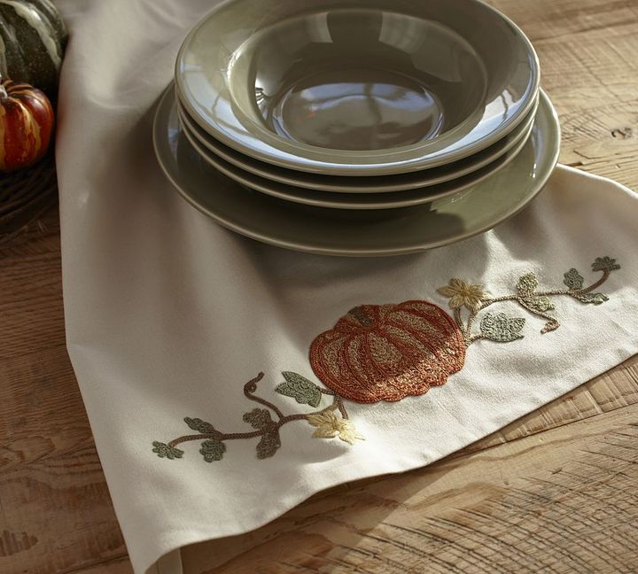 Pottery Barn Pumpkin Embroidered Kitchen Towel