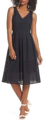 Eliza J V-Neck Cotton Eyelet Fit & Flare Dress