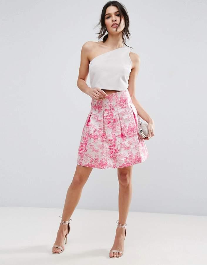 AsosASOS High Waisted Mini Skirt in Pink Jacquard