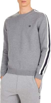 The Kooples Stripe Shoulder Cotton & Cashmere Crewneck Sweater