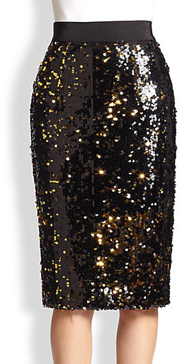 MILLY Sequined Pencil Skirt
