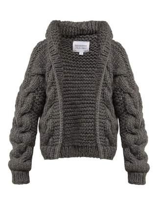 I Love Mr Mittens - Chunky Knit Wool Cardigan - Womens - Dark Grey