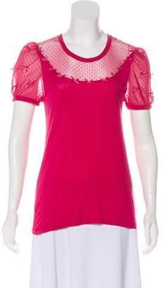 RED Valentino Mesh-Accented Short Sleeve Top