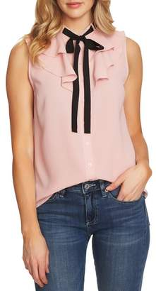 CeCe Ruffled Tie Neck Top