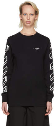 Off-White Off White Black and White Long Sleeve Diagonal Marker Arrows T-Shirt