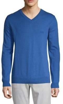 HUGO BOSS Cotton & Wool V-neck Sweater