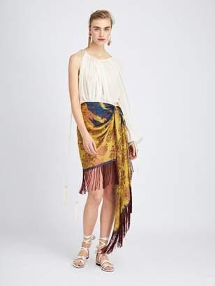 Oscar de la Renta Silk Scarf Wrap Skirt