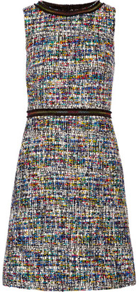 Boutique Moschino - Grosgrain-trimmed Bouclé-tweed Dress - Black $725 thestylecure.com