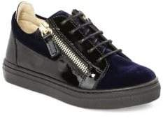 Giuseppe Zanotti Baby's& Kid's Velvet Low-Top Zip Sneakers