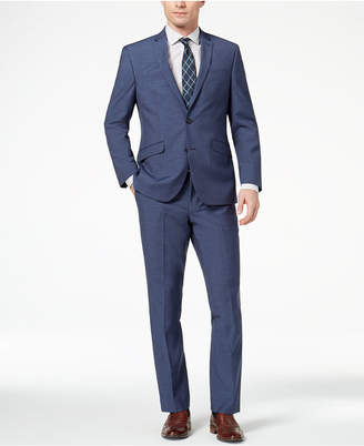 Kenneth Cole Reaction Men's Techni-Cole Slim-Fit Stretch New Blue Textured Suit