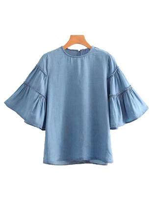 Goodnight Macaroon 'Lillian' Ruffle Flare Sleeve Chambray Top
