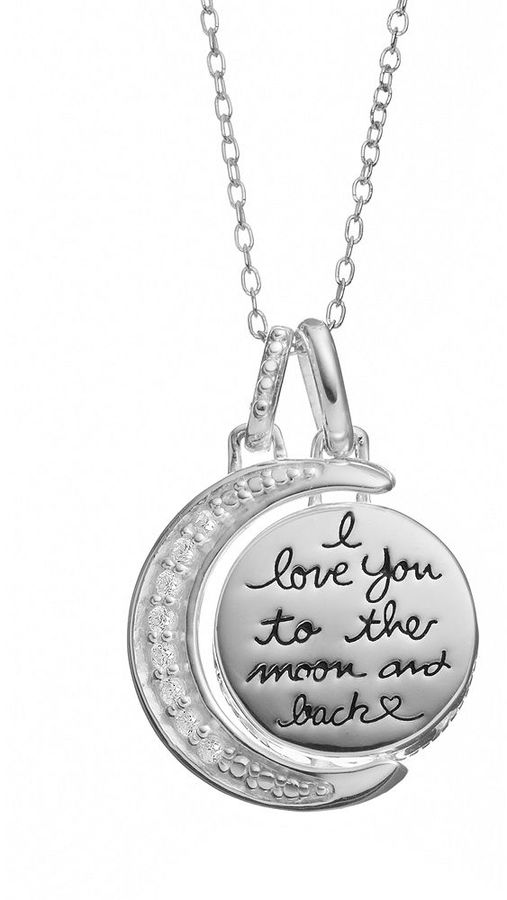 Love You To The Moon & Back Cubic Zirconia Sterling Silver Moon Pendant Necklace