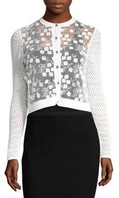 Elie Tahari Alena Embellished Merino Wool Cardigan $328 thestylecure.com