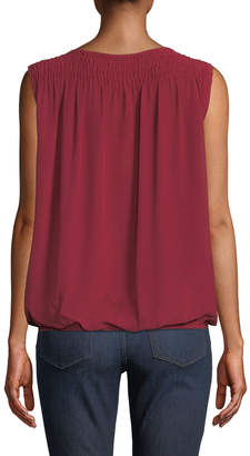 Max Studio Ruched Sleeveless Wrap Top