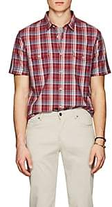John Varvatos MEN'S PLAID COTTON SHIRT-RED PAT. SIZE S