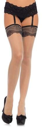 Women's Spandex Sheer Stockings with Woven Lace Top, Nude, O/S