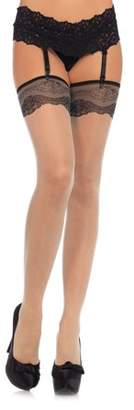 Leg Avenue Women's Spandex Sheer Stockings with Woven Lace Top, Nude, O/S