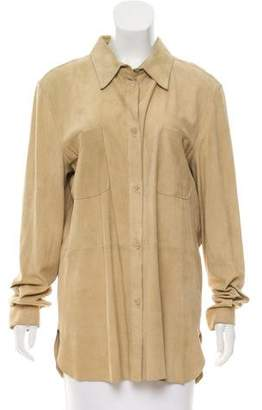 Gianfranco Ferre Suede Button-Up Top