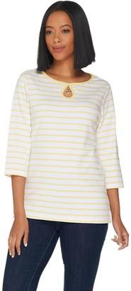 Factory Quacker Keyhole Neck w/ Charm 3/4 Sleeve T-shirt