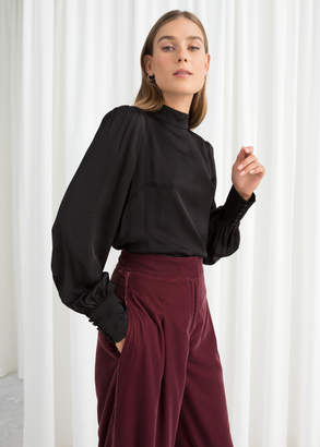 And other stories Satin Back Tie Blouse