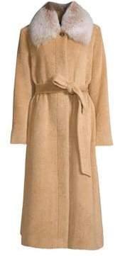 Sofia Cashmere Belted Fox Fur-Collar Baby Suri Alpaca Coat