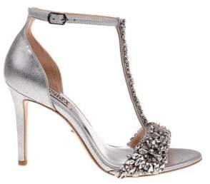 Badgley Mischka Veil II Metallic Leather Ankle-Strap Sandals