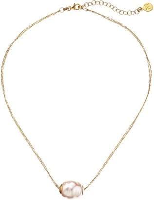 Majorica 14mm Baroque 2 Row Chain Necklace Necklace