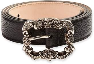 Alexander McQueen Skull embossed-buckle grained-leather belt