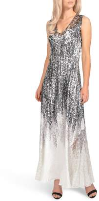 Komarov Lace-Up Charmeuse Maxi Dress
