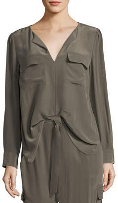 Go Silk Silk Flap-Pocket Top, Petite