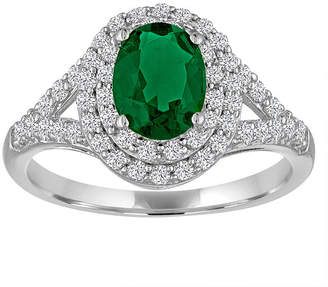 FINE JEWELRY Simulated Emerald & Lab-Created White Sapphire Sterling Silver Ring