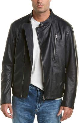 Armani Exchange Asymmetric Leather Moto Jacket