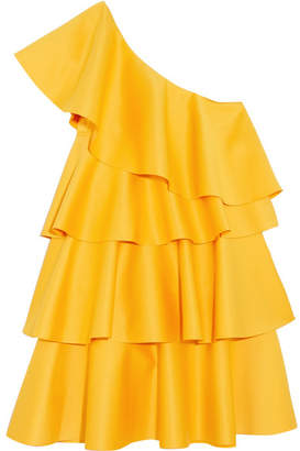 SOLACE London One-shoulder Ruffled Crepe Mini Dress - Saffron