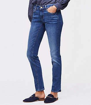 LOFT Tall Curvy Straight Leg Jeans in Classic Mid Indigo Wash