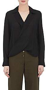 L'Agence Women's Rita Draped Silk Blouse-Black