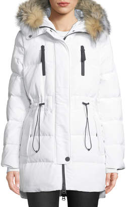 Derek Lam 10 Crosby Hooded Parka Coat w/ Fur & Cinched Waist