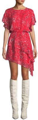 IRO Blame Printed Asymmetrical Short Dress