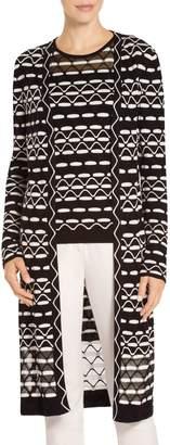 St. John Textural Wave Knit Maxi Cardigan