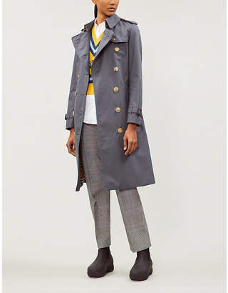 Burberry Protective Womens Mid Grey The Kensington Heritage Check-Lined Cotton-Gabardine Trench Coat