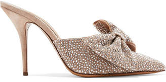 Alexandre Vauthier Kate Crystal And Bow-embellished Suede Mules - Neutral