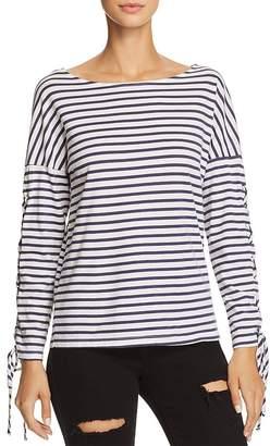 Monrow Lace-Up Sleeve Striped Tee