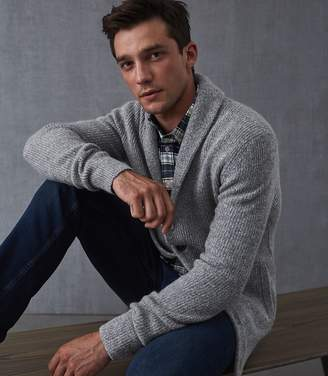 Reiss Our last order date for Christmas has now passed MANSEL SHAWL COLLAR CARDIGAN Navy