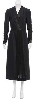 Jonathan Cohen Leather-Trimmed Maxi Dress