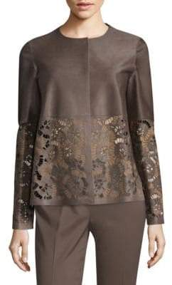 Lafayette 148 New York Sherice Laced Calf Hair Snap Jacket