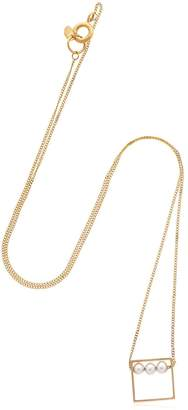 Lia Di Gregorio Quadrato Box Gold Necklace W/ Pearls