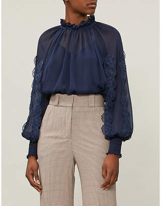 See by Chloe Floral-appliqué woven top